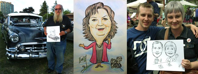 Caricatures drawn at events and festivals