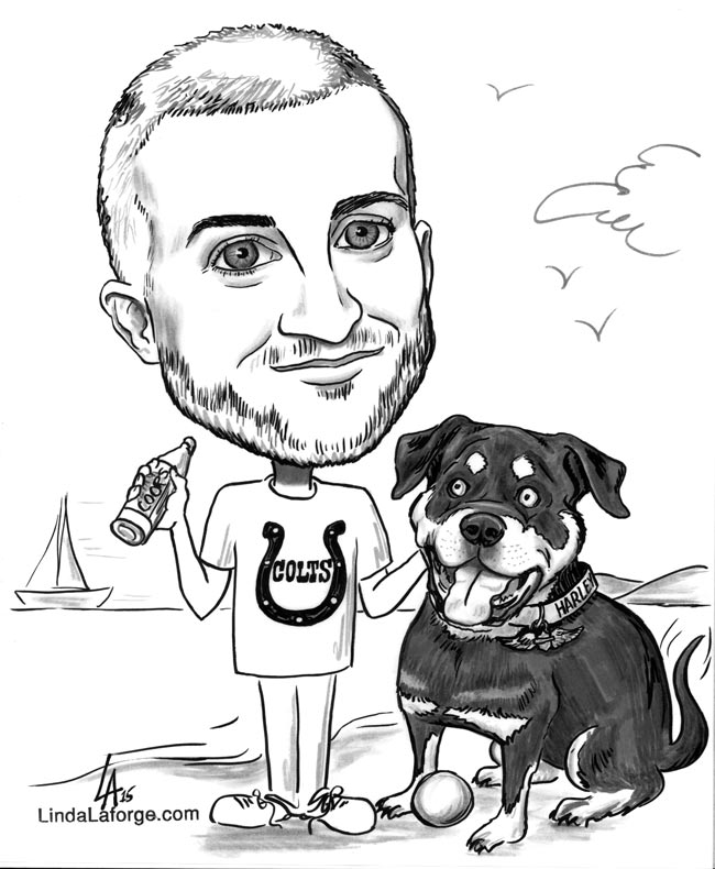 Caricature of a man and his dog