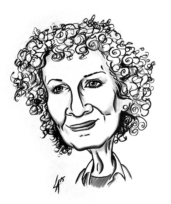 Caricature of Canadian author Margaret Atwood