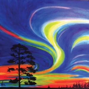 "AURORA BOREALIS, acrylic painting on 12"" x 12"" gallery canvas"
