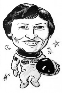 Caricature of Roberta Bondar, Canada's first female astronaut and the first neurologist in space