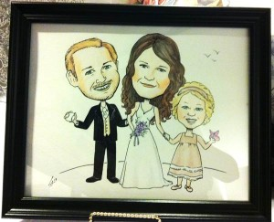 Caricature of Bride, groom and their daughter for their wedding