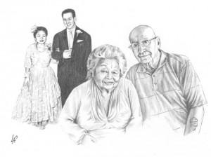 THEN & NOW Anniversary Portrait - hand drawn on illustration board