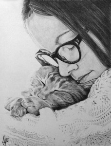 CAT LOVE - pet portrait drawn on illustration board
