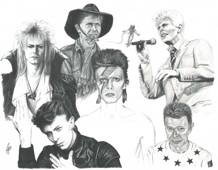 pencil drawing collage of David Bowie
