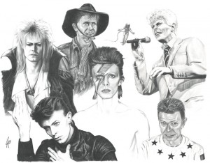 hand drawn portrait of David Bowie