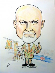 Colour Caricature of Don Cherry, mixed media water colour and ink