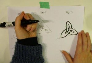 screen shot from celtic knot drawing video