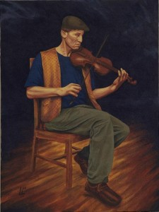"PASSIONATE FIDDLER - Musician Series, acrylic painting on 18"" x 24"" gallery canvas"