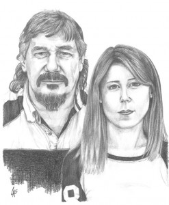 FATHER & DAUGHTER - pencil drawn portrait on illustration board