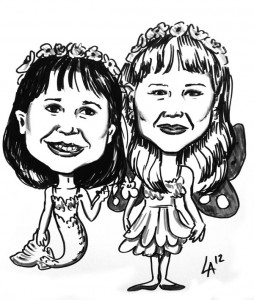Caricatures of little girls at Goderich Celtic Festival