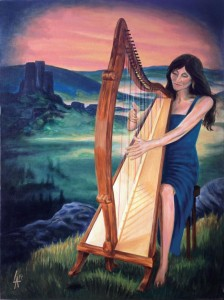 "Lady HARPIST - Musician Series, acrylic painting on 18"" x 24"" gallery canvas"
