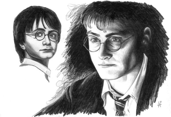 Portrait of Harry Potter, pencil on illustration board
