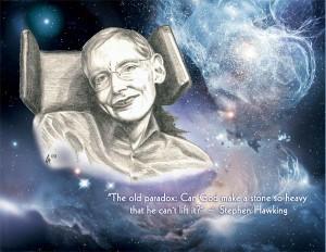 Stephen Hawking, digital rendering from scan of drawing