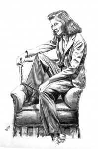 KATHERINE HEPBURN - pencil drawn portrait on illustration paper