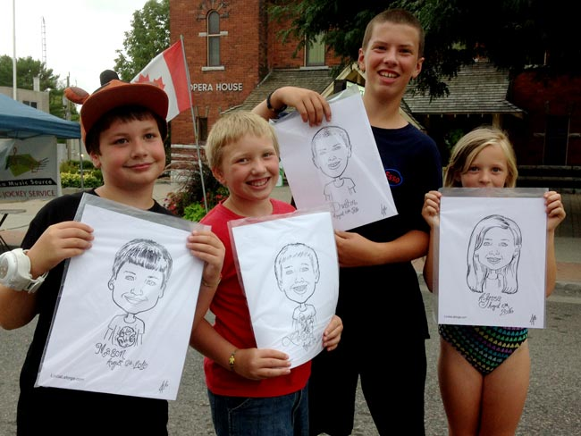 Caricatures of kids at fest in gravenhurst