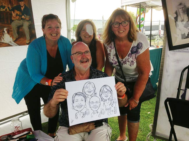 Caricature of family at festival