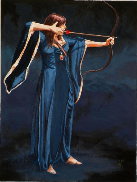 "Medieval lady ARCHER, original art, oil painting on 24"" x 36"" canvas"