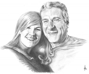 commissioned pencil drawn portrait of happy couple on illustration board