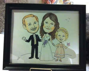 Caricature commission of bride, groom and daughter for wedding
