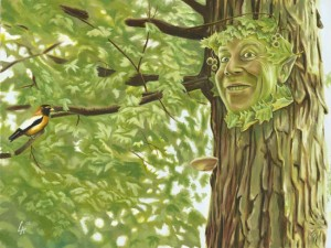 Green man painting, a character of celtic lore,