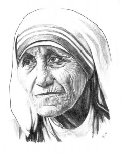 Mother Theresa - pencil drawn portrait drawn on illustration paper