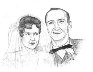 Wedding Day! - pencil drawn portrait on illustration paper