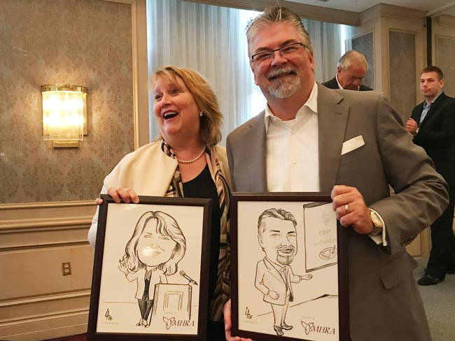 Caricature of speakers at OMHRA conference