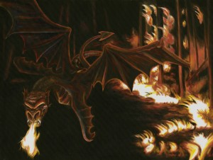 Angry dragon who lost her eggs, original oil painting