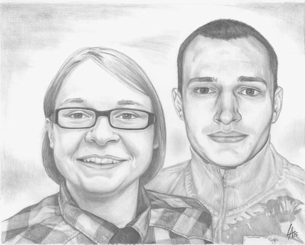 Siblings, pencil drawn portrait on illustration board