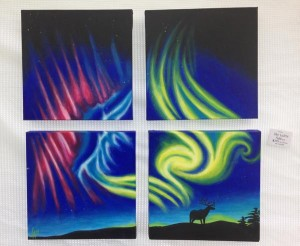 "Sky Lights, set of four 12"" x 12"" square acrylic paintings of an aurora borealis"
