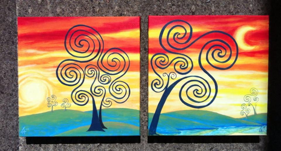 "Soul Trees, set of two 8"" x 8"" square acrylic paintings"