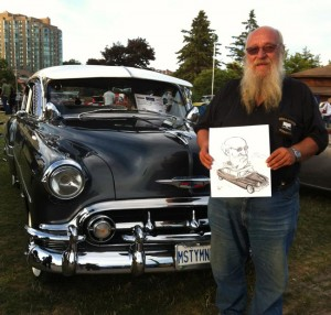 Caricature of car lover at Barrie's Classics in the Park