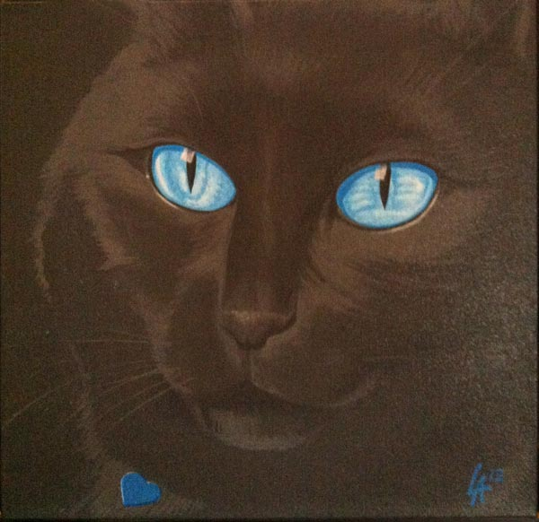 "Blue eyes black cat, acrylic painting on 12"" x 12"" gallery canvas"