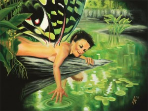 """Original acrylic painting of a fairy by her river on 18"""" x 24"""" gallery canvas"""