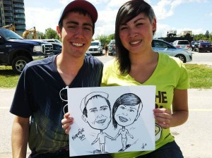 Caricature of couple at Kempenfest in Barrie