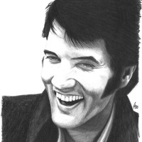 Pencil drawn portrait of Elvis Presley