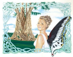 Faerie on her way home to the ancient tree of the skies, acrylic on illustration board