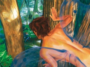 "Original acrylic painting of a fairy watching people in her forest on 18"" x 24"" gallery canvas"