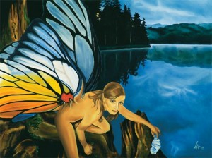 """Original acrylic painting of a fairy displeased by plastic garbage in her lake on 18"""" x 24"""" gallery canvas"""