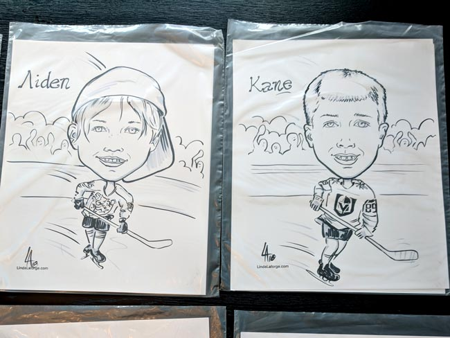 caricatures of kids hockey team