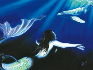 "Original acrylic painting of a mermaid watching a whale on 18"" x 24"" gallery canvas"