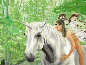 Unicorn and fairy in forest, acrilyc painting