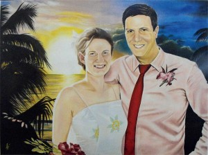 "Wedding Couple, Portrait second - acrylic on gallery a8"" x 24"" gallery canvas"