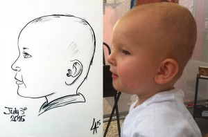 Caricature of a child's side view
