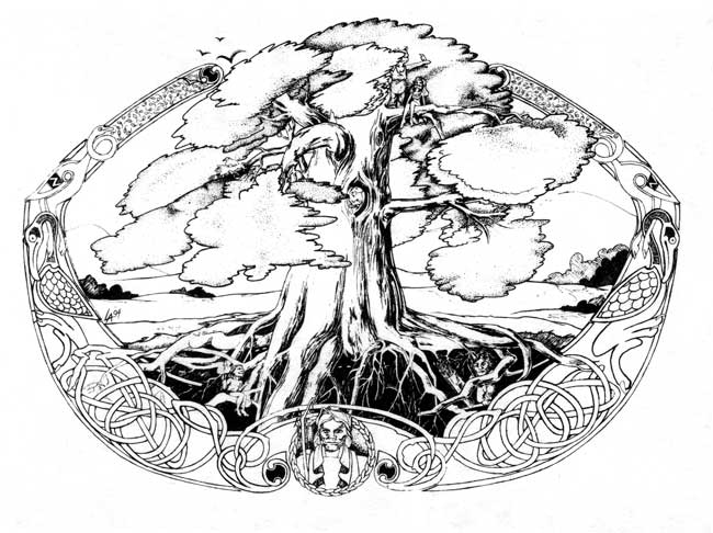 Celtic Tree of Life with Oberon, King of the little people, pen and ink